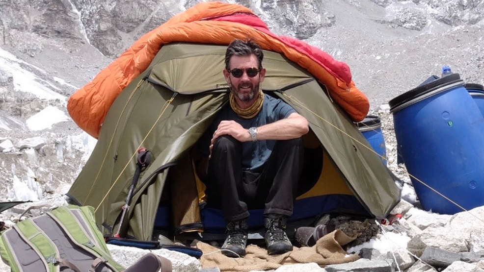 A man in a tent