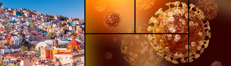 """Banner für das Web-Meeting """"Rückkehr nach Mexiko"""": Eine Mexikanische Stadt ist neben dem COVID-19-Virus zu sehen."""