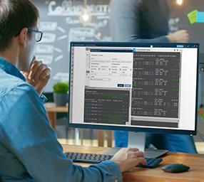Smartpoint customer on laptop.