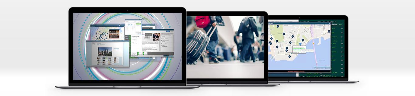 verschiedene Travelport Smartpoint Bildschirme.
