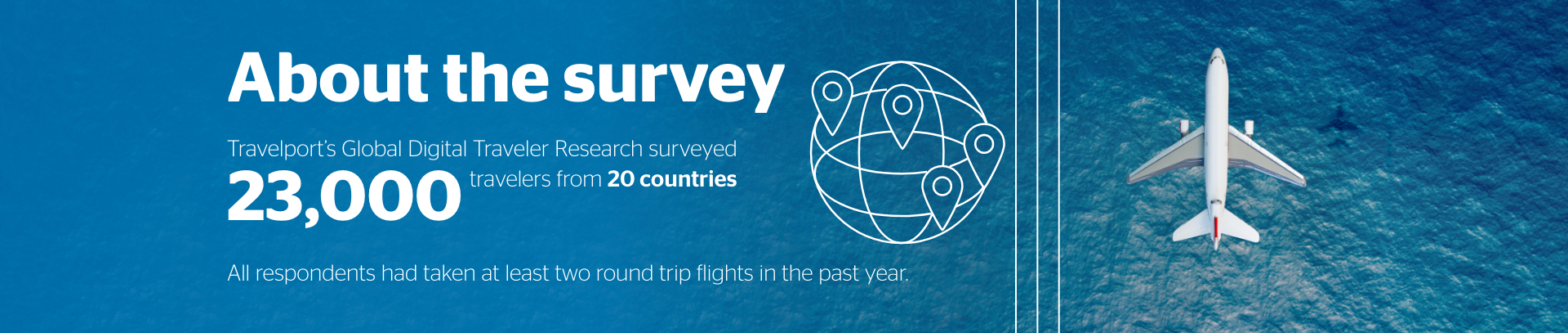 About the survey. Travelport's Global Digitial Traveler Research surveyed 23,000 travelers from 20 countries. All respondents had taken at least two round trip flights in the past year.
